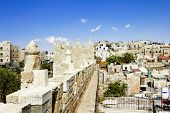 View From The Walls Of Ancient Jerusalem's Damascus Gate And Roofs Of Houses