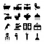 stock photo of plunger  - Plumbing icons - JPG