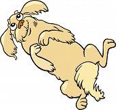 Happy Fluffy Dog Cartoon Illustration