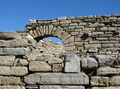 Ancient Greek wall with unusual arch