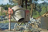 Cement Mixer On Building Site