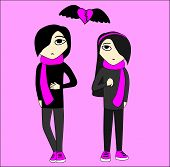 stock photo of emo-boy  - Emo boy and girl in black and pink colors - JPG