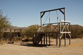 stock photo of death penalty  - The hanging gallows in a old western town for executing the bad guys - JPG