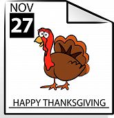 Vector Cartoon Thanksgiving Turkey Holiday Design / Drawing