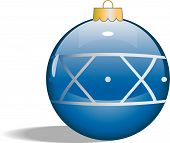 Vector Single Blue Glass Christmas Tree Ornament