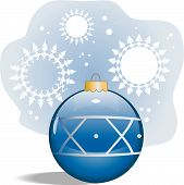 Vector Blue Glass Ornament With Snowflake Background