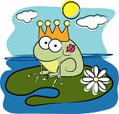 Vector cartoon animal design: frog prince with crown