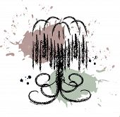 Vector nature design: grunge style willow tree