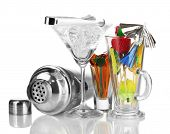 stock photo of crusher  - Cocktail shaker and  other bartender equipment isolated on white - JPG