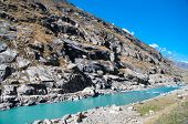stock photo of manali-leh road  - Water melt from himalaya range - JPG