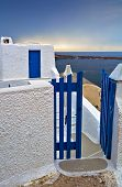 Wicket Gate And Build In Typical Santorini Colors