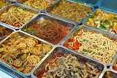 Variety of fast food restaurant dishes