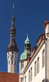 picture of wane  - Old Tallinn street fragment with tall town hall tower - JPG