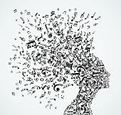 pic of clip-art staff  - Music notes splash from woman - JPG