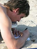 Writer On The Beach