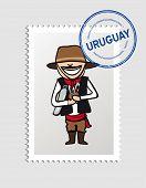 Uruguay Cartoon Person Travel Stamp.
