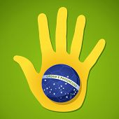 Brazil Flag Ball Human Hand Shape Composition.