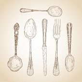Vintage Cutlery Hand Drawn Set