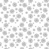 Traditional Handmade Folk Seamless Floral Black And White Background