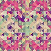 picture of color geometric shape  - Colorful retro hipsters triangle seamless pattern illustration - JPG