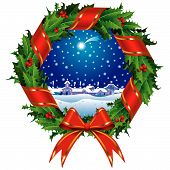 image of christmas wreath  - Vector holly wreath with a city view - JPG