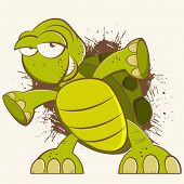 stock photo of carapace  - vintage cartoon turtle - JPG