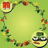 stock photo of tangelo  - Vector illustration of a tea wreath very suitable for backgrounds websites portfolio etc - JPG