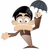 funny cartoon man with umbrella