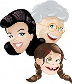grandma mommy and daughter cartoon