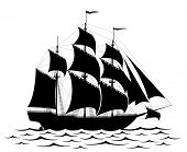 stock photo of pirate flag  - Black old detailed ship isolated on white - JPG
