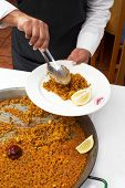 serving Paella/typical spanish dish with rice