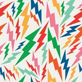 stock photo of bolt  - Vintage hipsters lightning bolts seamless pattern background - JPG