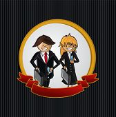Service Callcenter Couple Cartoon Label Icon.