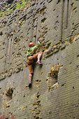 Brave Climber Climbing Up