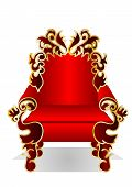 stock photo of throne  - red throne isolated on the white background - JPG
