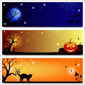 stock photo of toadstools  - Set of horizontal Halloween backgrounds - JPG