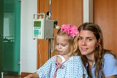 picture of love hurts  - Recovering Little baby girl hospitalized with a Intravenous bag on a pole - JPG