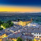 San Gimignano Night Aerial View, Church And Medieval Town Landmark. Tuscany, Italy poster