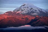 stock photo of andes  - Sunset on the Volcano Cayambe Cordillera Oriental a branch of the Ecuadorian Andes - JPG