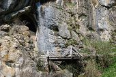 Bridge To Cave Under Predjama Grad