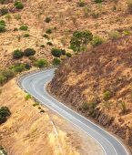Winding Tarred Road In The Countryside