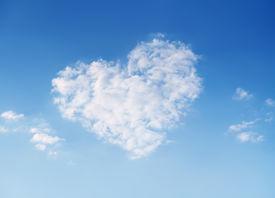 image of heart shape  - Heart shaped cloud on beautiful blue sky - JPG
