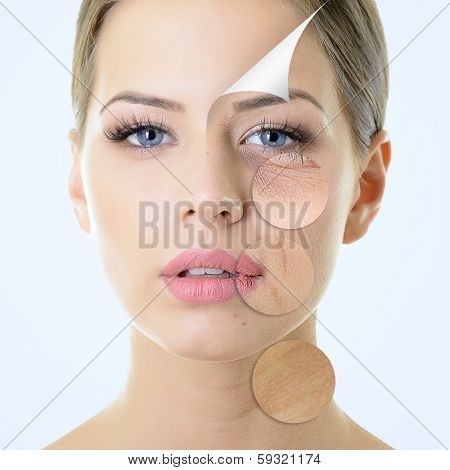 anti-aging concept, portrait of beautiful woman with problem and clean skin, aging and youth concept poster