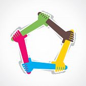 hand join team work or support each other