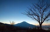 Sunset Fuji fujisan at dusk from yamanaka lake at Yamanashi Japan