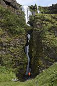 Iceland. South Area. Eyjafjalajokul Zone. Waterfall Nearby Seljalandsfoss.