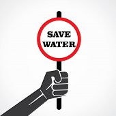 save water  placard held in hand stock vector