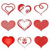 Set of red hearts isolated on white background.