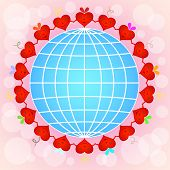 pic of pinky  - Cartoon red hearts circle around globe on pinky background - JPG