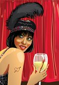 Funny Girl With Glass Of Champagne.red Curtain.cabaret.illustration